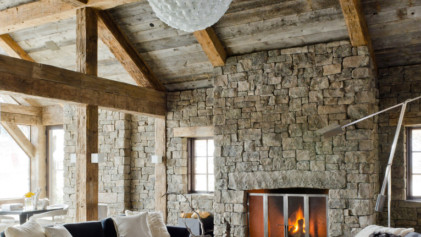 Wood-burning fireplace in cabin.