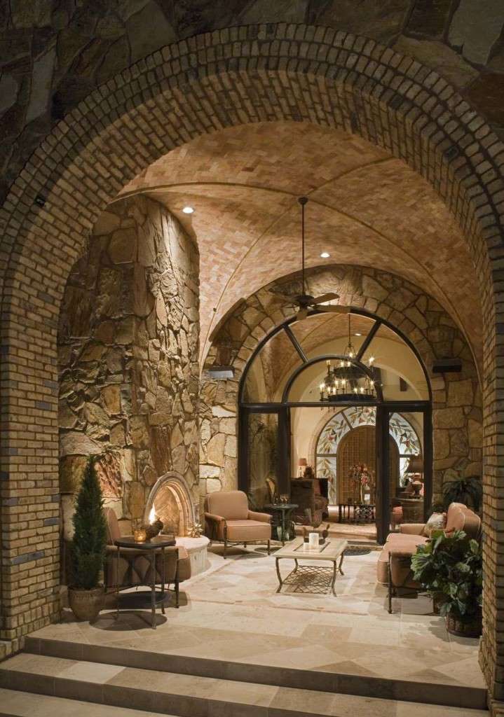 wine cellar made of stone and brick