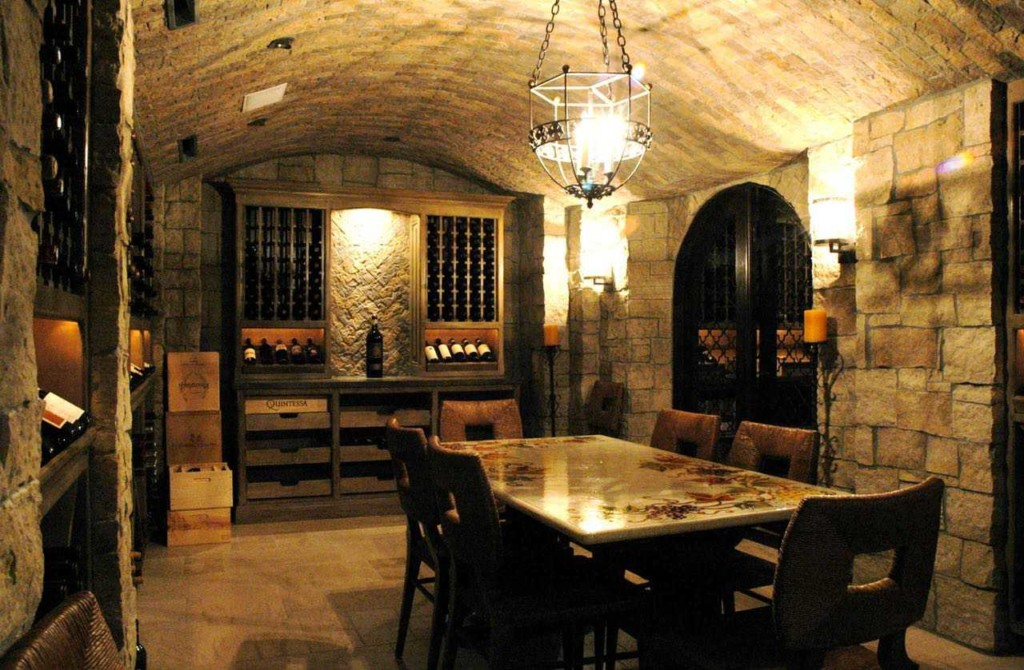 stone made wine cellar in basement
