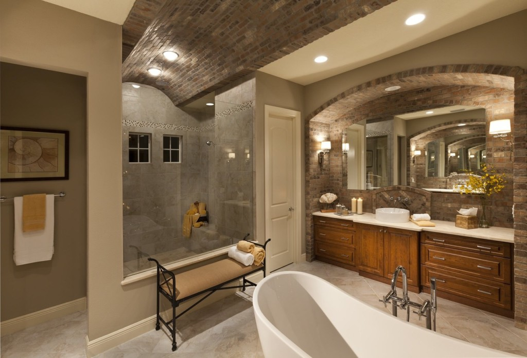 Hebron Brick bathroom inspiration brick cieling and vanity